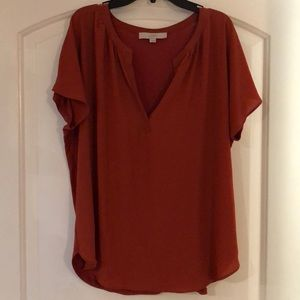 Loft mixed media split neck blouse